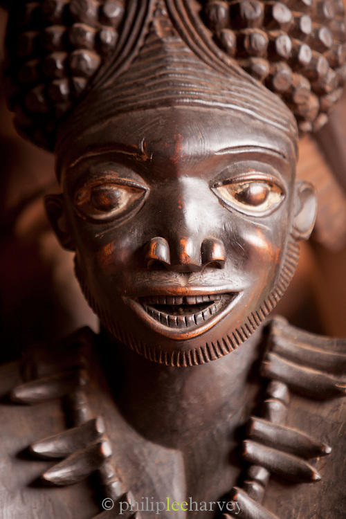 Traditional wood carved statue seen on display at the Babungo Palace. Here there are over 3000 masks and statues on display, Babungo, Cameroon