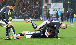 Dundee's Nick Ross scoring their second goal. <br /> Dundee 2 v 1  Dundee United, SPFL Ladbrokes Premiership game played 2/1/2016 at Dens Park.