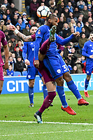 Football - 2017 / 2018 FA Cup - Fourth Round: Cardiff City vs. Manchester City<br /> <br /> Joe Bennett  of Cardiff City contests the ball in the box , at Cardiff City Stadium.<br /> <br /> <br /> COLORSPORT/WINSTON BYNORTH