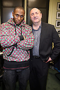 Mos Def and Anthony DeCurtis, in the green room at The Kaufman Concert Hall at The 92 Street Y on thursday February 28, 2008..Regarded as one of hip-hop's most insightful artists, Mos Def has shaped a career that transcends genres. His groundbreaking collaboration with fellow rapper Talib Kweli in Black Star; his distinctive and daring solo work, and his acting, both in film and theater, have earned him Grammy, Emmy, Golden Globe and NAACP Image Award nominations. Add to that his activism, most recently in the Jena six case, and you have a portrait of an artist fully engaged with the issues of his times. Mos Def discusses his music, his acting, his social and political perspective, and his vision of the role that artists must play in the public world. Anthony DeCurtis is a contributing editor for Rolling Stone and the author of In Other Words: Artists Talk About Life and Work..