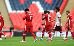 Mohamed Salah of Liverpool cuts a dejected figure at half-time- Mandatory by-line: Nizaam Jones/JMP - 29/08/2020 - FOOTBALL - Wembley Stadium - London, England - Arsenal v Liverpool - FA Community Shield