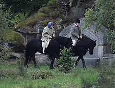 HRH Queen Elizabeth is seen enjoying an early morning horse ride - 10 Sep 2017
