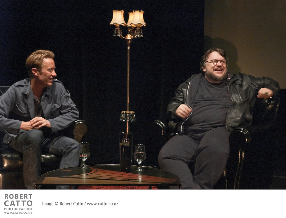 As a fundraiser for their feature film project, producer Bonnie Slater and director Sam Kelly put on an evening with Guillermo del Toro, hosted by New Zealand director Jonathan King, at the Paramount Theatre in Wellington.