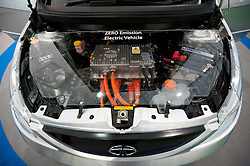 Detail of electric motor in Tata electric battery powered car at Geneva Motor Show 2011 Switzerland