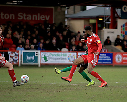 Coventry City's Bright Enobakhare (right, hidden) scores his side's first goal of the game