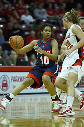24 March 2011: Wumi Agunbiade reverses direction when cut off by Katie Broadway during a WNIT (Women's National Invitational Tournament Women's basketball sweet 16 game between the Duquesne Dukes and the Illinois State Redbirds at Redbird Arena in Normal Illinois.