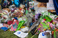 Makeshift memorial at the site where six officers were shot in Baton Rouge. Three of the officers were killed and one remains in criticial condition. The memorial in front of the  B-Quik gas station continues to grow.