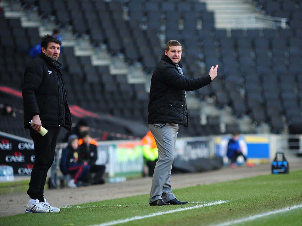 Milton Keynes Dons's assistant manager Mick Harford, left, and Milton Keynes Dons's Manager Karl Robinson ..Football - npower Football League Division One - Milton Keynes Dons v Preston North End - Saturday 02nd March 2013 - Stadium:mk - Milton Keynes..© CameraSport - 43 Linden Ave. Countesthorpe. Leicester. England. LE8 5PG - Tel: +44 (0) 116 277 4147 - admin@camerasport.com - www.camerasport.com