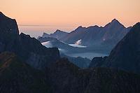 View across mountain peaks of Moskenesøy and Flakstadøy, Lofoten Islands, Norway