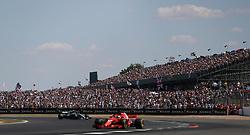 Ferrari's Sebastian Vettel leads the final laps during the 2018 British Grand Prix at Silverstone Circuit, Towcester.
