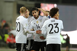 KAISERSLAUTERN, Oct. 9, 2017  Emre Can (C) of Germany celebrates with teammates after scoring during the FIFA 2018 World Cup Qualifiers Group C match between Germany and Azerbaijan at Fritz Walter Stadium in Kaiserslautern, Germany, on Oct. 8, 2017. Germany won 5-1. (Credit Image: © Ulrich Hufnagel/Xinhua via ZUMA Wire)