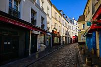 France, Paris (75), colline de Montmartre, rue Norvins durant le confinement du Covid 19 // France, Paris, Montmartre, Norvins street during the containment of Covid 19