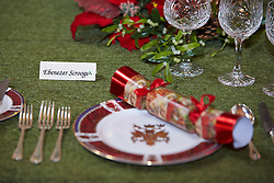 © Licensed to London News Pictures.  09/11/2013. WOODSTOCK, UK. A place setting for Ebenzer Scrooge on the grand Saloon table at Blenheim Palace. The table is set for a  feast inspired by the classic story A Christmas Carol during as part of a Dickensian Christmas. The themed event opened to the public today (Sat 9th Nov) and runs until the 13th December.  Photo credit: Cliff Hide/LNP