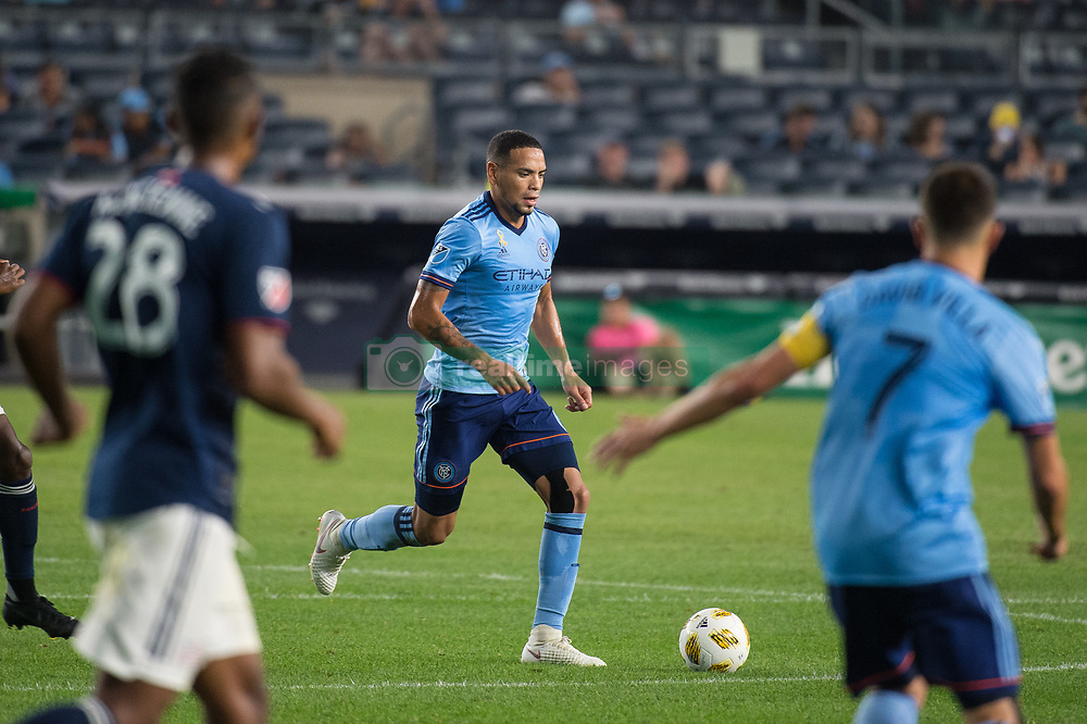 September 5, 2018 - Bronx, New York, United States - New York City defender ALEXANDER CALLENS #6 dribbles there ball across the field while New York City forward DAVID VILLA #7 looks on during a regular season match at Yankee Stadium in Bronx, NY.  New England Revolution defeats New York City FC 1 to 0 (Credit Image: © Mark Smith/ZUMA Wire)