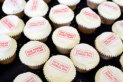 Ed Miliband <br /> leader of the Labour Party <br /> speech at RIBA Royal Institute of British Architecture, London, Great Britain <br /> 29th April 2015 <br /> General Election Campaign 2015 <br /> <br /> The Tories' Secret Plan cakes <br /> <br /> Photograph by Elliott Franks <br /> Image licensed to Elliott Franks Photography Services