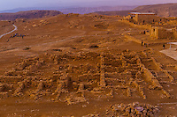 Sunrise at the natural fortress, Masada National Park, in the Judaean Desert overlooking the Dead Sea, Israel.