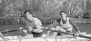 London. United Kingdom.  1987 Pre Fixture, Varsity Boat Race. National Squad vs Cambridge University BC on the Championship Course Mortlake to Putney. River Thames.  Saturday 21.03.1987<br /> <br /> [Mandatory Credit: Peter SPURRIER/Intersport images]<br /> <br /> National Squad, right.Terry Dillon and  John MAXEY. 19870321 Pre Boat Race fixture, National Squard vs Cambridge UBC, London UK