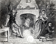 Family being terrified by a fireball or bolide, a large meteorite, falling down their chimney and into the kitchen. Engraving from 'The Aerial World' by G Hartwig (London, 1881).