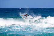 Kalani David of Hawaii advances to round 2 after finishing first in round 1 heat 8 at the WSL 2019 Volcom Pipe Pro at Pipeline, Oahu, Hawaii, USA