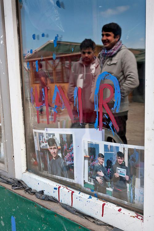 Barbers shop, The high street shops, The Jungle, refugee camp, France
