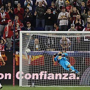 New York Red Bulls keeper Luis Robles is beaten by a shot from Toronto striker Ryan Johnson during the New York Red Bulls V Toronto FC  Major League Soccer regular season match at Red Bull Arena, Harrison. New Jersey. USA. 29th September 2012. Photo Tim Clayton