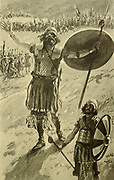 THE DEFIANCE OF GOLIATH. I Samuel xvii. 10 And the Philistine said, I defy the armies of Israel this day; give me a man, that we may fight together From the book ' The Old Testament : three hundred and ninety-six compositions illustrating the Old Testament ' Part II by J. James Tissot Published by M. de Brunoff in Paris, London and New York in 1904