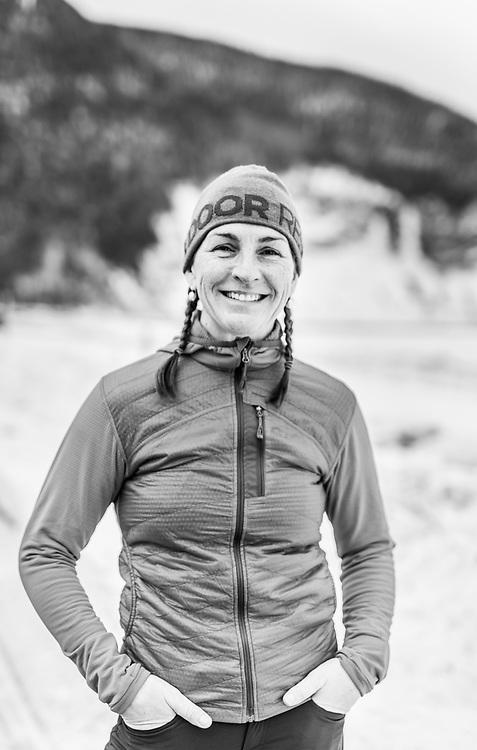 Nathalie Fortin after climbing in Mont-St-Pierre, Gaspesie, Quebec