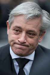 © Licensed to London News Pictures . 16/01/2014 . Salford , UK . JOHN BERCOW MP , the Speaker of the House of Commons and Conservative MP for Buckingham , after the service . The funeral of Labour MP Paul Goggins at Salford Cathedral today (Thursday 16th January 2014) . The MP for Wythenshawe and Sale East died aged 60 on 7th January 2014 after collapsing whilst out running on 30th December 2013 . Photo credit : Joel Goodman/LNP