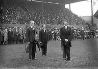 Opening of Tailteann Games 1928. Pictured are from left; Mr. Cormac Breathnach, Mr. George Atkinson, R.H.A. and Mr. J.J. Walsh Director of Aonach Tailteann. (Part of the Independent Newspapers Ireland/NLI Collection)