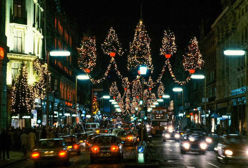 Christmas lights in Regent's Street, London, UK