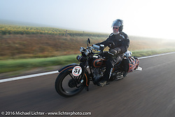 Peter Reeves riding his 1929 Harley-Davidson JD in the fog at the beginning of Stage 8 of the Motorcycle Cannonball Cross-Country Endurance Run, which on this day ran from Junction City, KS to Burlington, CO., USA. Saturday, September 13, 2014.  Photography ©2014 Michael Lichter.