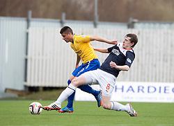 Cowdenbeath's Jamie Stevenson and Falkirk's Blair Alston.<br /> half time : Falkirk 3 v 0 Cowdenbeath, Scottish Championship game played today at The Falkirk Stadium.<br /> © Michael Schofield.
