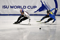 February 9, 2019 - Torino, Italia - Foto LaPresse/Nicolò Campo .9/02/2019 Torino (Italia) .Sport.ISU World Cup Short Track Torino - Men 500 meters Quarterfinals .Nella foto: Dae Heon Hwang, Nurbergen Zhumagaziyev..Photo LaPresse/Nicolò Campo .February 9, 2019 Turin (Italy) .Sport.ISU World Cup Short Track Turin - Men 500 meters Quarterfinals.In the picture: Dae Heon Hwang, Nurbergen Zhumagaziyev (Credit Image: © Nicolò Campo/Lapresse via ZUMA Press)
