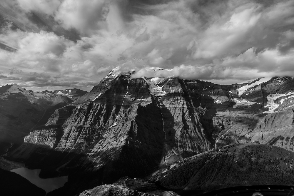 Mt Robson as seen from the air when flying in, Mount Robson Provincial Park, BC