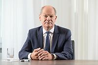 28 AUG 2020, BERLIN/GERMANY:<br /> Olaf Scholz, SPD, Bundesfinanzminister, waehrend einem Interview, Bundesministerium der Finanzen<br /> IMAGE: 20200828-01-030