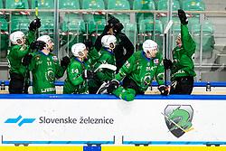 Players of HK SZ Olimpija celebrate during 3rd leg of ic hockey game between HK SZ Olimpija Ljubljana and Asiago Hockey in Final of Alps Hockey League 2020/21, on April 24, 2021 in Hala Tivoli, Ljubljana, Slovenia. Photo by Matic Klansek Velej / Sportida