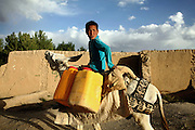 A young boy is riding his donkey home after having collected water water from a small river in Bamyan, Afghanistan. In the town there is no electricity or running water. Power is only being provided by generators or solar panels. The Buddhas of Bamiyan were two 6th century monumental statues of standing Buddhas carved into the side of a cliff in the Bamiyan valley in the Hazarajat region of central Afghanistan, situated 230 km northwest of Kabul at an altitude of 2500 meters. The statues represented the classic blended style of Gandhara art. The main bodies were hewn directly from the sandstone cliffs, but details were modelled in mud mixed with straw, coated with stucco. Amid widespread international condemnation, the smaller statues (55 and 39 meters respectively) were intentionally dynamited and destroyed in 2001 by the Taliban because they believed them to be un-Islamic idols. Once a stopping point along the Silk Road between China and the Middle East, researchers think Bamiyan was the site of monasteries housing as many as 5,000 monks during its peak as a Buddhist centre in the 6th and 7th centuries. It is now a UNESCO Heritage Site since 2003. Archaeologists from various countries across the world have been engaged in preservation, general maintenance around the site and renovation. Professor Tarzi, a notable An Afghan-born archaeologist from France, and a teacher in Strasbourg University, has been searching for a legendary 300m Sleeping Buddha statue in various sites between the original standing ones, as documented in the old account of a renowned Chinese scholar, Xuanzang, visiting the area in the 7th century. Professor Tarzi worked on projects to restore the other Bamiyan Buddhas in the late 1970s and has spent most of his career researching the existence of the missing giant Buddha in the valley.