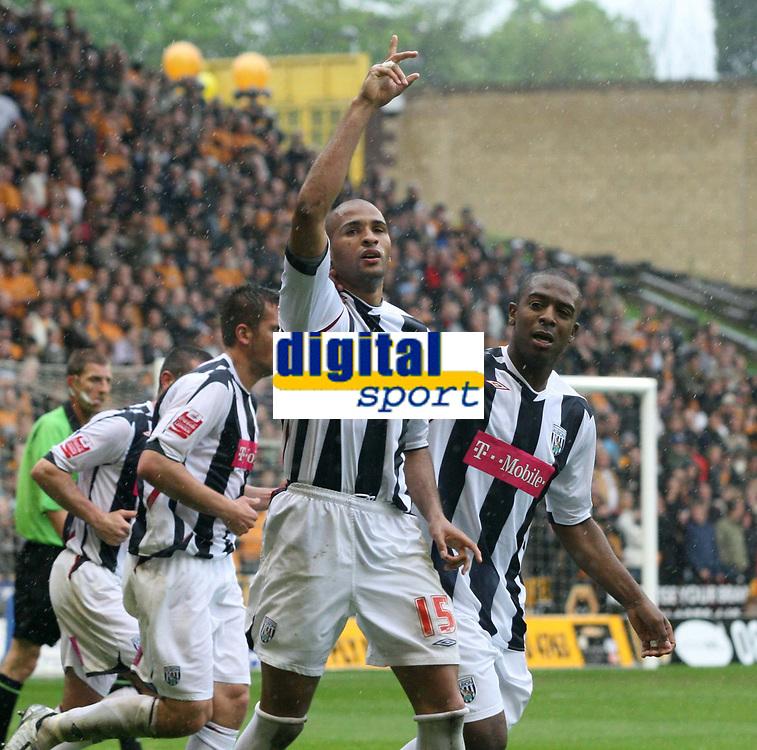 Photo: Mark Stephenson.<br /> Wolverhampton Wanderers v West Bromwich Albion. Coca Cola Championship. Play off Semi Final, 1st Leg. 13/05/2007.West Brom's Diomansy Kamara celebrates his winning goal