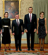 MADRID, 19/11/2015.<br /> Stunning queens Rania of Jordan and Letizia of Spain go head to head<br /> <br /> They are two of the world's most beautiful and stylish royals - and not used to fighting for attention. <br /> <br /> But today has seen a battle of the royal style icons as Queen Letizia welcomed Queen Rania to Spain.<br /> <br /> The pair looked radiant in shades of red as 43-year-old Letizia greeted Rania, 45, fresh off the plane, and then they transformed into visions in black come nightfall for an official dinner in Madrid.<br /> Queen Rania opted for a flowing mid-length number cinched in with a statement gold belt.<br /> <br /> The dress's pockets, collar and cuffs were embroidered with a matching black and white pattern, and she held a silver clutch back.<br /> <br /> Her hair was swept back into a low chignon and her open-toe shoe-boots added a trendy edge to the sophisticated outfit.<br /> Earlier today as they met at the airport, mother-of-two Letizia, stunned in an elegant dress in a bold red hue.<br /> <br /> The Spanish royal offset her look with a matching red clutch and bold stilettos. She wore her bobbed hair in tight curls to welcome the Queen of Jordan. <br /> <br /> Mother-of-four Rania, meanwhile, opted for a trendier outfit and donned a red and white wrap coat with blue pockets and a matching clutch. <br /> <br /> She wore her long brunette locks in bouncy curls as she touched down at Madrid's Barajas Adolfo Suarez airport with her husband, King Abdallah II of Jordan, for a two-day visit.  <br /> ©Exclusivepix Media