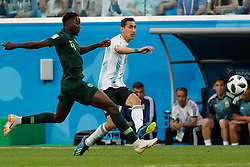 June 26, 2018 - Saint Petersburg, Russia - Onyinye Ndidi (L) of Nigeria national team and Angel Di Maria of Argentina national team vie for the ball during the 2018 FIFA World Cup Russia group D match between Nigeria and Argentina on June 26, 2018 at Saint Petersburg Stadium in Saint Petersburg, Russia. (Credit Image: © Mike Kireev/NurPhoto via ZUMA Press)