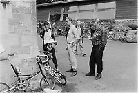 Murray Sayle on the right, Australian journalist, at the 30th anniversary of Moulton Bikes in the presence of sir Alex Moulton. September 1992 30th anniversary of Moulton Bikes in the presence of Dr Alexander Moulton CBE. September 1992