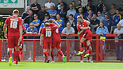Gwion Edwards celebrates his goal during the Sky Bet League 2 match between Crawley Town and AFC Wimbledon at the Checkatrade.com Stadium, Crawley, England on 15 August 2015. Photo by Michael Hulf.