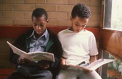 Two junior school boys reading story books,