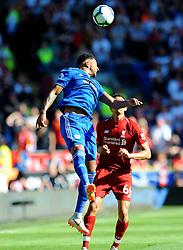 Nathaniel Mendez-Laing of Cardiff City heads the highball - Mandatory by-line: Nizaam Jones/JMP - 21/04/2019 -  FOOTBALL - Cardiff City Stadium - Cardiff, Wales -  Cardiff City v Liverpool - Premier League