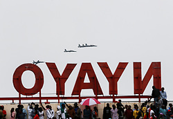 NAIROBI, Dec. 12, 2016 (Xinhua) -- Military fighter jets fly over Nyayo National Stadium during the celebrations to mark the 53rd anniversary of the nation's independence, in Nairobi, Kenya, Dec. 12, 2016. (Xinhua/Pan Siwei) (dtf) (Credit Image: © Pan Siwei/Xinhua via ZUMA Wire)