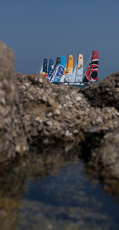 The Extreme Sailing Series 2013. Act 1..Day 3 of racing close to the shore. The Wave Muscat. .Please credit: Lloyd Images