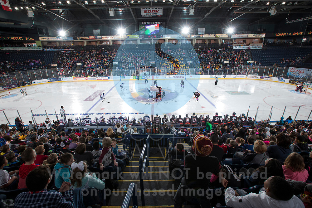 The Youngstown Phantoms lose 6-2 to Team USA NTDP during the School Day game at the Covelli Centre on April 12, 2018.