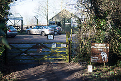 © Licensed to London News Pictures. 18/01/2018. Beenham, UK.  The scene at Beenham in Berkshire where police are hunting for a wolf that has escaped from its enclosure at the UK Wolf Conservation Trust nearby. Armed police are on the scene. Photo credit: Ben Cawthra/LNP