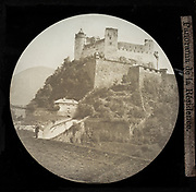 Magic lantern view Hohensalzburg fortress, Panorama de la Résidence, Salzburg, Austria 1868
