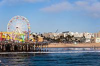 United States, California, Santa Monica. Santa Monica is a beachfront city in western Los Angeles County. A Ferris wheel at Santa Monica Pier.